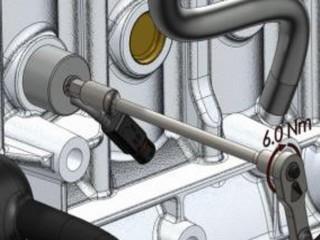 Затяните подогреватель с усилием 6 Nm